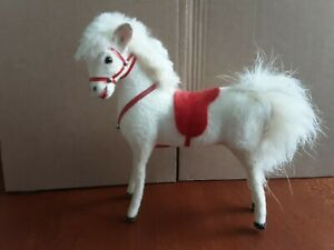 Vintage Kunstlerschutz West German Flocked White Pony Horse Saddle Miniature