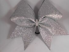 Silver CRACKED ICE Glitter Cheer Bow by BlingItOnCheerBowz