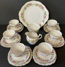 Colclough Pink and White Cabbage Rose 21 Piece Tea Set