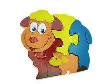 Traditional Wood'n'Fun: Baby/Toodler Wooden Colourful Puzzle Sheep and Lamb