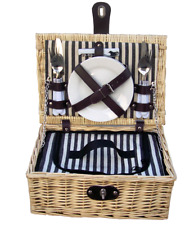 Handy two person fitted picnic hamper basket with cooler