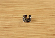 Feather Design Sterling Silver Ear Cuff Band Earring Mens Womens Tribal Boho
