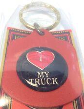 Brand New Pressed Metal Keychain I LOVE MY TRUCK Porte-Cle Neuf~USA Product ~NWT
