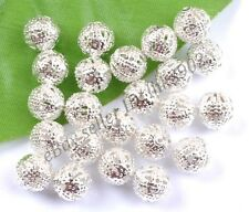 GOLD & SILVER PLATED,BRONZE,COPPER, Metal FILIGREE Spacer BEADS - Choose 6-12MM