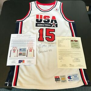 1992 Magic Johnson Signed Game Used Team USA Olympics Jersey JSA COA