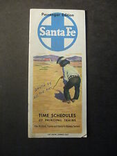 VINTAGE SANTA FE TIMETABLE TIME SCHEDULES OF PRINCIPAL TRAINS 1958 Map