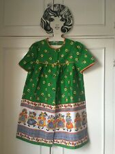 Vintage 60's 70's mini smock apron daisy novelty print floral dress 10 12 14