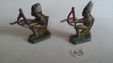 2 indiens peau rouge tirant à l'arc en plomb anciens sioux soldats western
