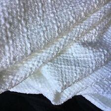 """NEW Designer White Colour Wool Boucle Fabric 60"""" 153cm Seen On Designer Catwalk"""