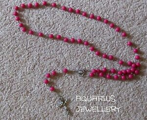 ROSARY LOVELY BEAD NECKLACE JESUS CROSS  CHOOSE A COLOUR FREE GIFT BAG