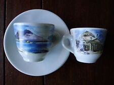 2 Sets Nuova Point Italian City Scene Espresso Demitasse Cups With Saucers ITALY