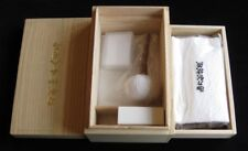 Sword cleaning kit in two-stage handmade kiri wood box. From Japan.
