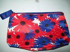 "Estee Lauder Red White Blue Floral Cosmetic 5 x 9"" Zip Makeup Bag-NWOT"