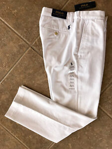 Polo Ralph Lauren Flat Front Chino Pants Mens 32 x 30 White w/Pony Classic NWT