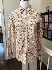 EUC Orla Kiely Uniqlo Beige Brown Stem Flower Button Down Shirt Top Cotton Sz M