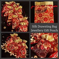 Red Gold Silk Paisley Drawstring Pouch Wedding Jewellery Pouch Gift Bag 14/11cm