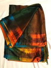 Brown Olive Orange Satin Sari Indian Saree Bollywood Fabric Panel Drape