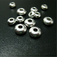 100PCs Stainless Steel Spacer Beads For Jewelry Making Round Silver Tone Beads