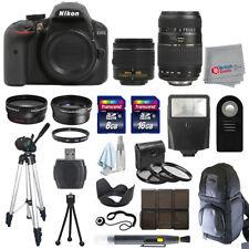 Nikon D3400 Digial SLR Camera 4 Lens Kit 18-55mm + 70-300 + All You Need Kit