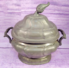 Vintage Pewter Serving Dish Unique Finial Two Handled Covered Angel Marks 7.5 In