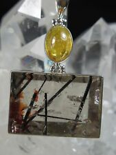 132 cts. BLACK TOURMALINE IN QUARTZ/ HELIODOR IN STERLING SILVER PENDANT C 104