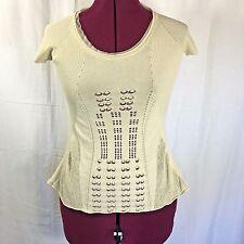 Stefanel Made Italy Women's Short Sleeve Bohemian Ivory Beige Knit Top XS BOHO