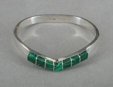 Taxco Vintage Malachite Stone Inlays Sterling Silver Hinged Bangle Bracelet
