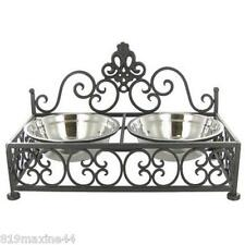 Metal Dual Pet Feeder stainless steel water and food bowl, stylish, swirl design