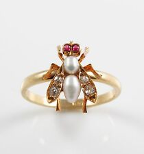 Victorian 14k Gold Diamond Ruby & Pearl Insect Fly Ring Size 7