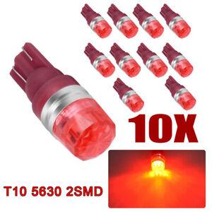 10pcs Pure Red T10 192 194 921 LED Reserve Side Marker Lamp Parking Light Bulbs