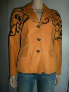 Saga Ibanez designer veste blazer taille convient 40 FR daim cuir véritable neuf