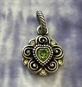 Brighton Birthstone AUGUST Light Green Peridot Crystal Heart Silver ABC Charm