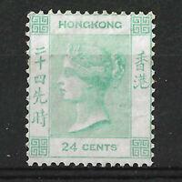 HONG KONG QV VICTORIA 1863 24c PALE GREEN SG14a Wmk CC, MINT, MLH