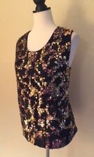 Chico's Double Mesh Gold Sequin Sleeveless Top Size 3