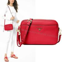 NWT🍎Michael Kors Jet Set Charm Large EW Leather Camera Crossbody Bag Bright Red