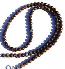 """Natural Gem Australian Boulder Opal Flashy Fire 5MM Round Beads Necklace 16.5"""""""