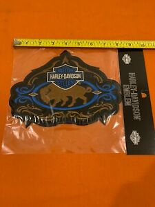 "HARLEY DAVIDSON GENUINE BUFFALO BISON BAR & SHIELD BLUE 8"" OBSOLETE PATCH"