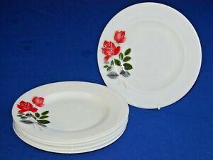 "Vintage JAJ Pyrex Set 6 June Rose Salad, Dessert Plates.8.5"" Diameter."
