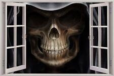 Cheap 3D Window view Grim Reaper Skull Head Wall Sticker Film Mural Decal 165