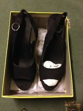 Graceland Women's Black & Beige Size UK 6 Suede Material Wedge Heel Party Shoes