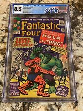 FANTASTIC FOUR #25 CGC 8.5 OW PG 1ST HULK VS THING COVER 2ND CAPTAIN AMERICA HOT