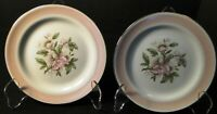 """Homer Laughlin Nautilus N1769 Bread Plates 61/4"""" Pink Band Set of 2 Excellent"""