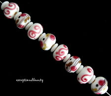 8 Assorted Pink White Lampwork Flower Smooth Rondelle Glass Beads