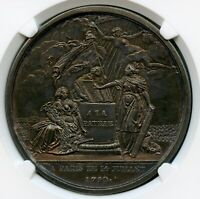 France 1790 Silver Medal Confederation Monarchy & Revolution NGC MS 63 XRARE !!!