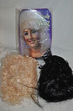 """BLACK 30"""" ages 8 up standard witch goth + BLONDE GIRLY WIG  HALLOWEEN COSTUME"""