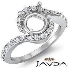 Diamond Engagement Ring Round Shape 0.35C 14k W Gold Semi Mount Halo Curve Shank