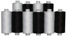 10 Black & White Colours Moon Polyester Sewing Thread 1000 Yds Each Spool