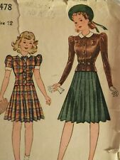 Fab VTG 20s SIMPLICITY 3478 Girls Two-Piece Dress/Tops & Skirt PATTERN 12/30B