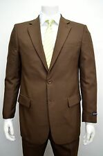 Men's Brown 2 Button Classic Fit Polyester Suit Size 36S NEW