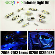 For 2006-2013 Lexus IS250 IS350 ISF BLUE LED Interior Light Accessories Kit 16PC
